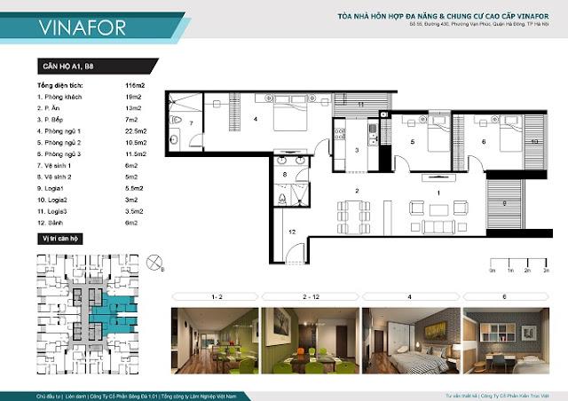 mặt bằng căn hộ diện tích 116m2 chung cư vinafor