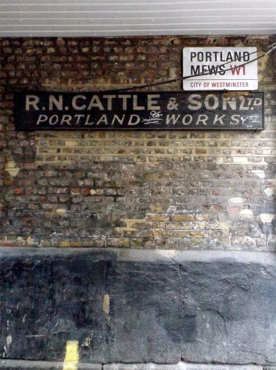 r n cattle painted sign portland mews soho