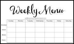 FREE Printable Weekly Menu