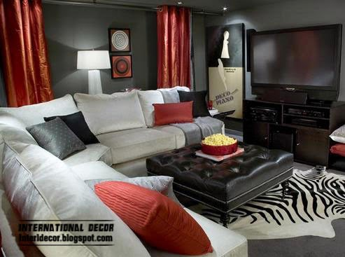 red curtains in black living room interior, red window treatments