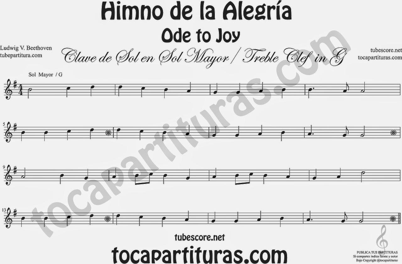 Partitura del Himno de la Alegría fácil en Sol Mayor G