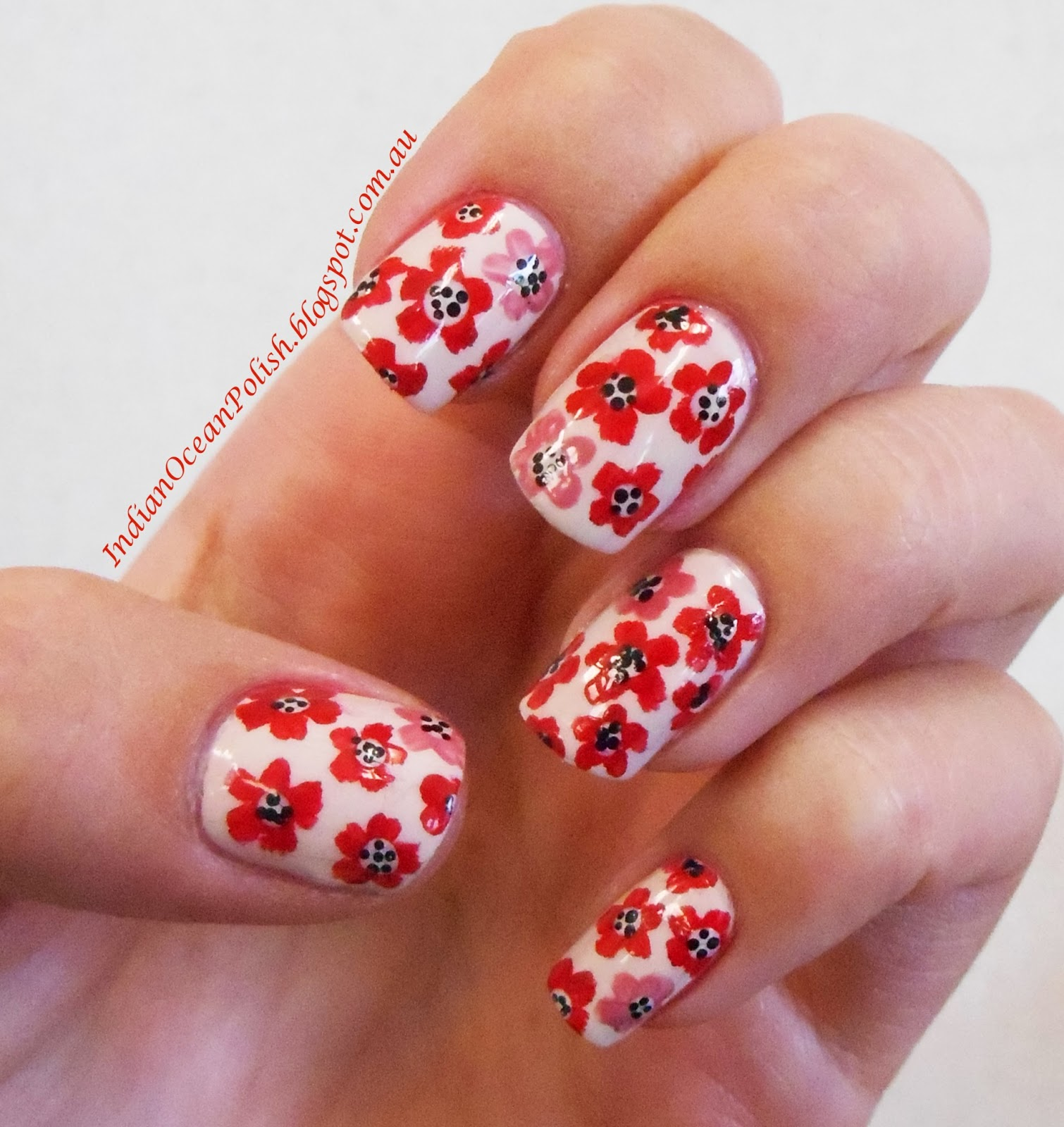 Black Poppy Nail Polish: Indian Ocean Polish: Engagement Nails!!!! Pink And Red Poppies