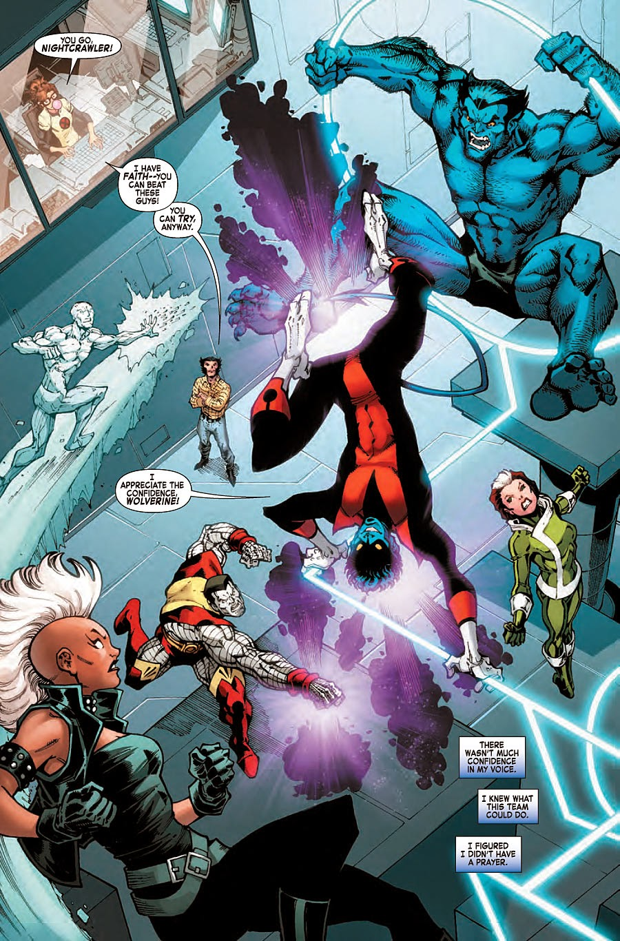 Nightcrawler trains with the X-Men in a flashback