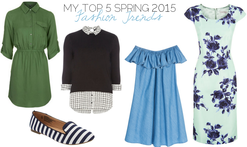 spring 2015 fashion trends top five favorite black white shirt dress denim flats floral