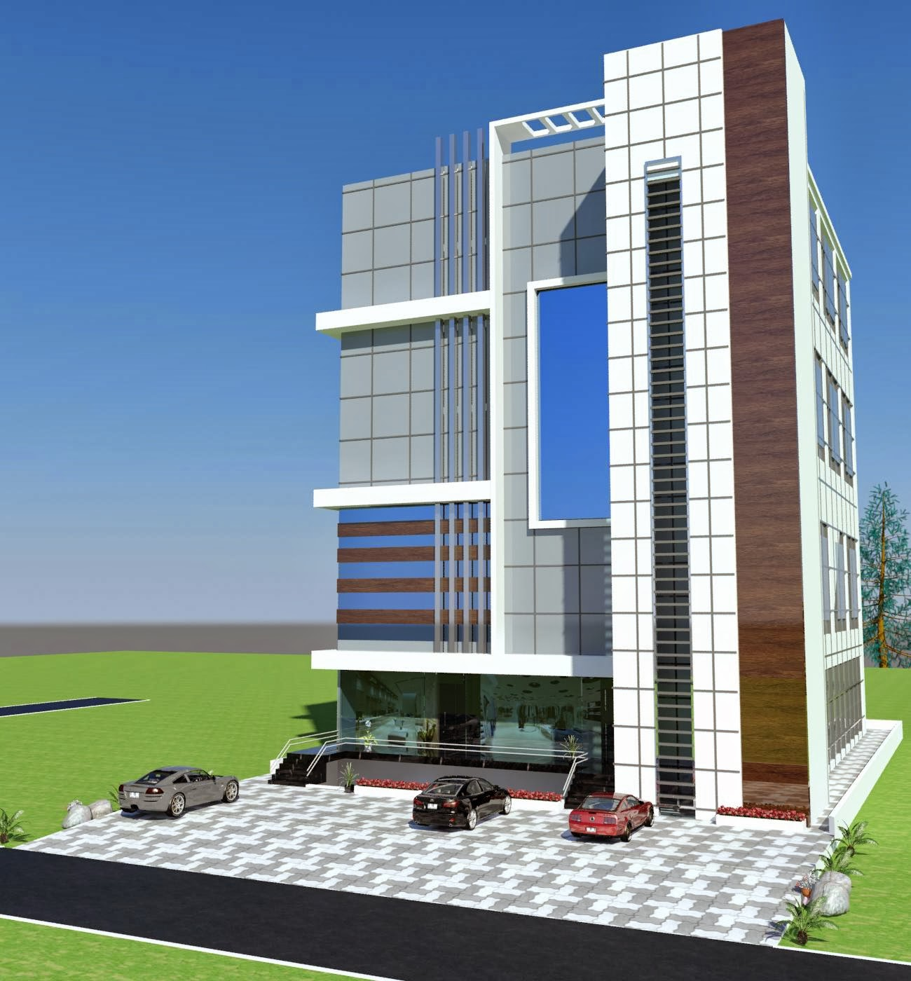commercial plaza Plan 3d Front Elevation in Porposal in Poiner Society