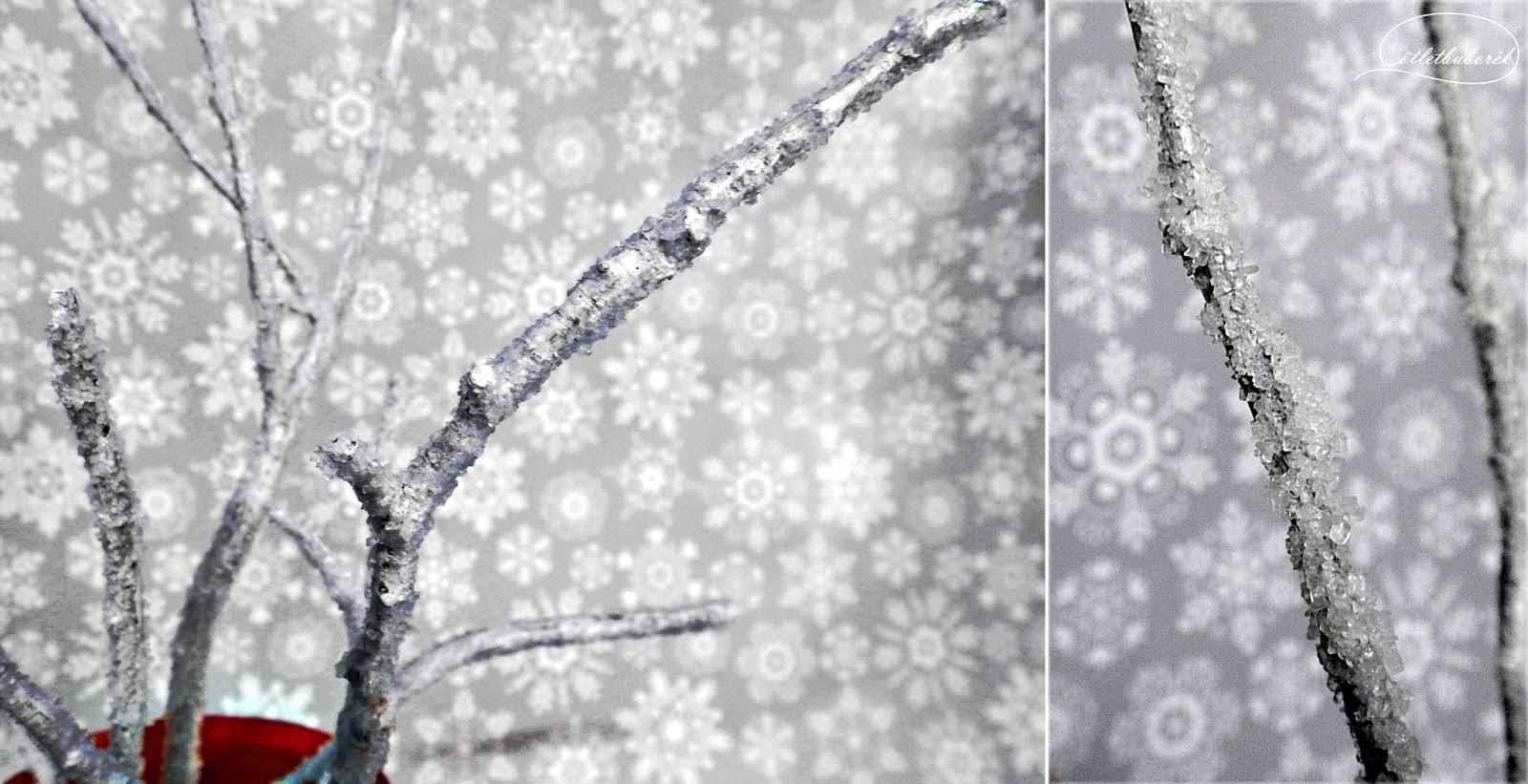 Téli dekorág kristálycukorral