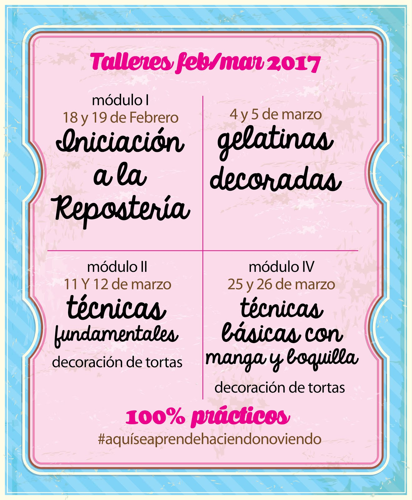 Calendario de Cursos de Repostería en Caracas