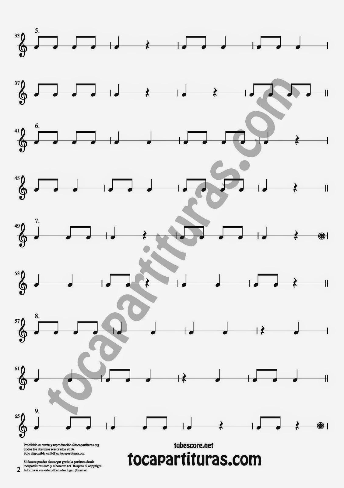 2 27 Ejercicios Rítmicos para Aprener Solfeo en el Compás de 2/4 Aprender negras, corcheas, blancas y sus silencios. Easy Rithm Sheet Music for quarter notes, half notes, 1/8 notes and silences