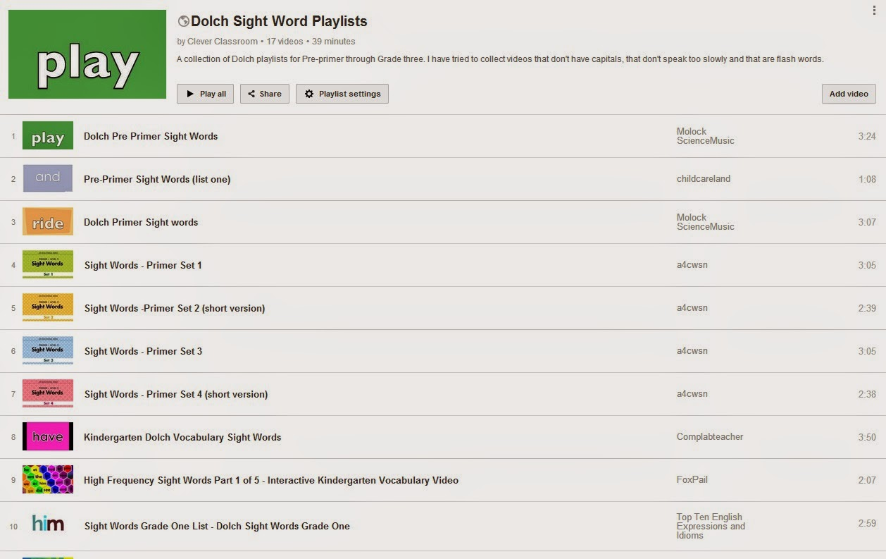 YouTube Dolch Words playlist via Clever Classroom