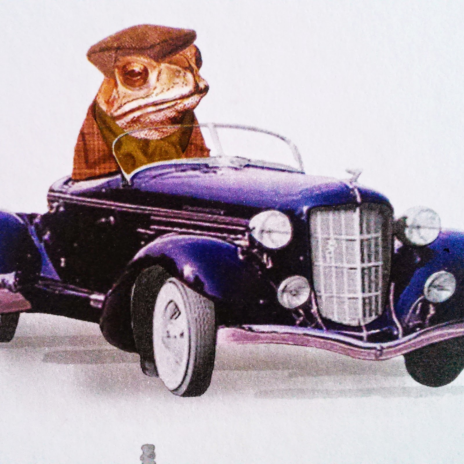 A toad in a flat cap driving a Rolls Royce from some wacky wallpaper in a guesthouse in York.