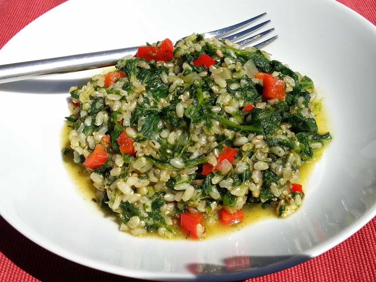 Risotto met spinazie en paprika