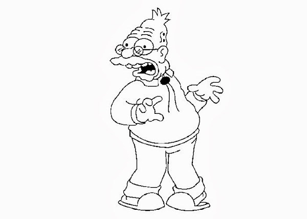 Simpsons Grandpa Coloring Pages
