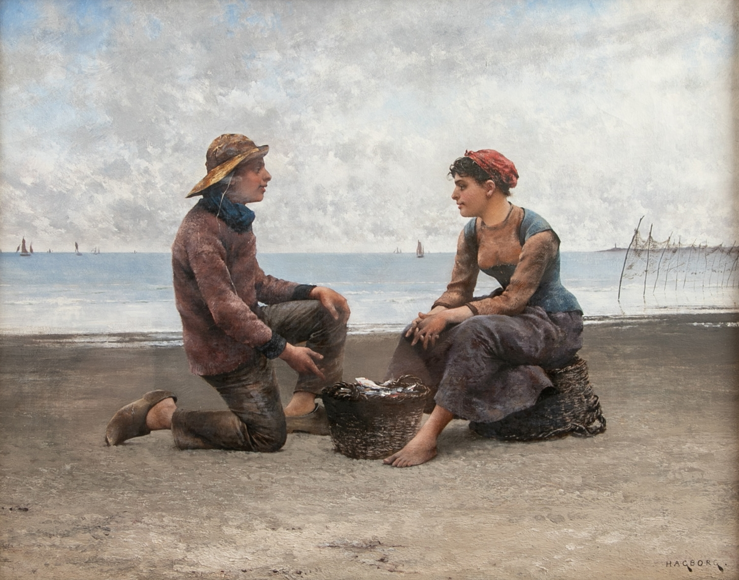 August Hagborg Young Fisherman And Fishmonger Girl Flirting