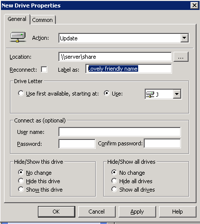 Mapping drives in AppSense Environment Manager using Windows Server on