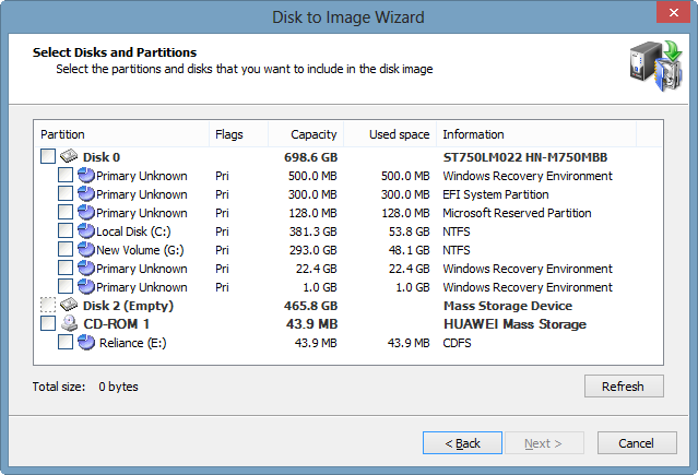 disk to image wizard