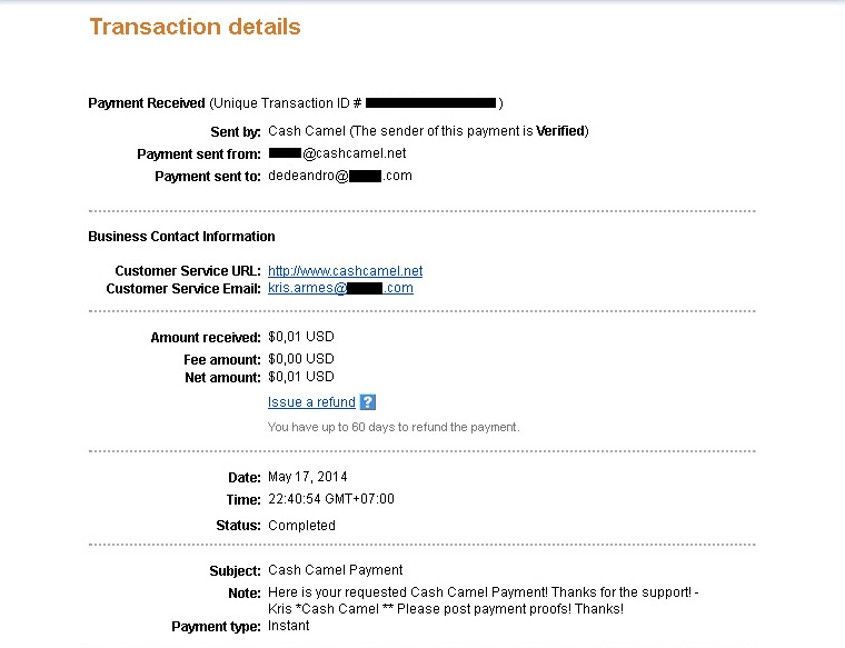 CashCamel Payment May 17, 2014