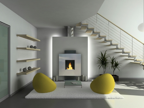 Passive houses and fireplaces bio ethanol ventless fireplace for Ventless fireplace modern