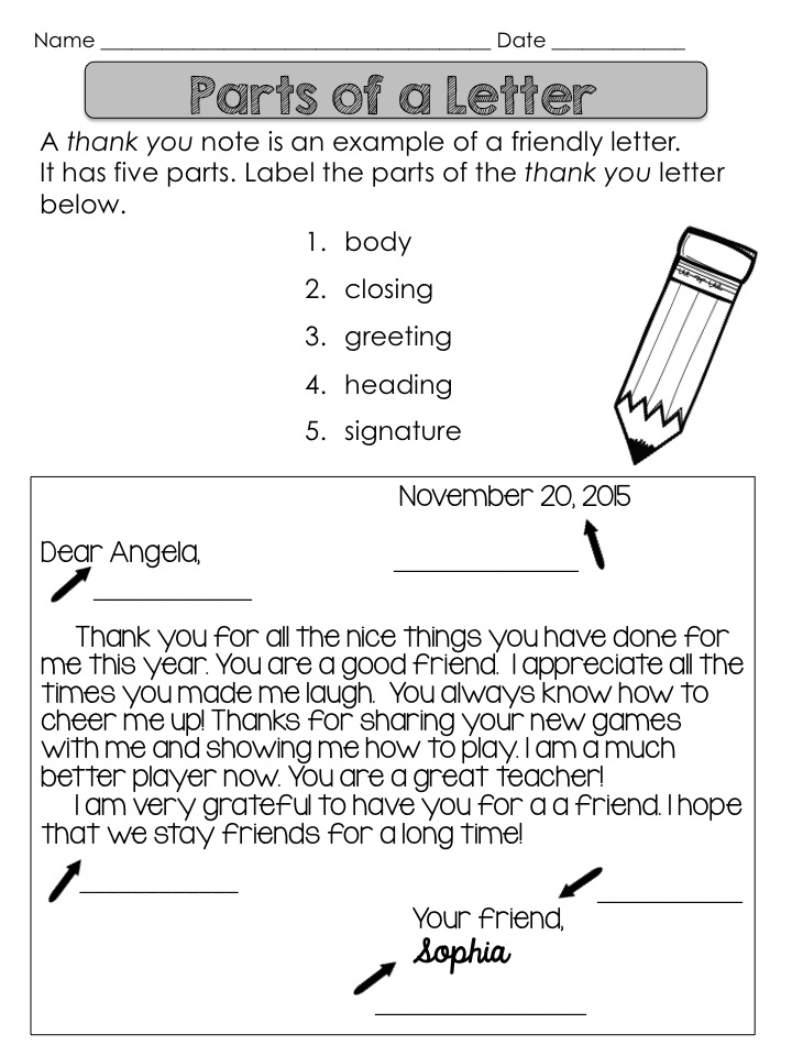 A Classroom For All Seasons: Thank You Letter Lesson