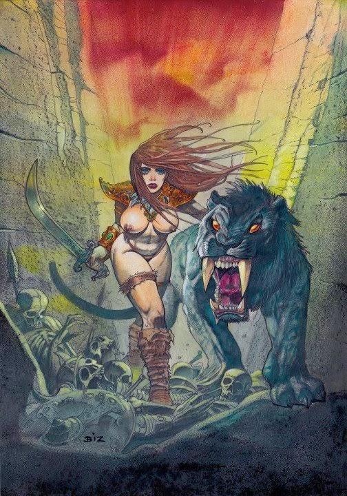 Dessin de Simon Bisley représentant une guerrière seins nus avec une panthère noire aux dents de sabre