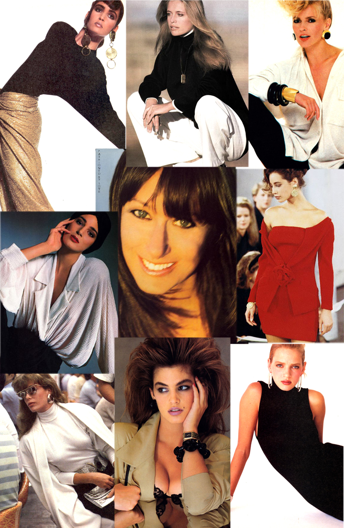 Donna Karan designs in fashion Vogue & Harpe's Bazaar editorials, 1986-1989