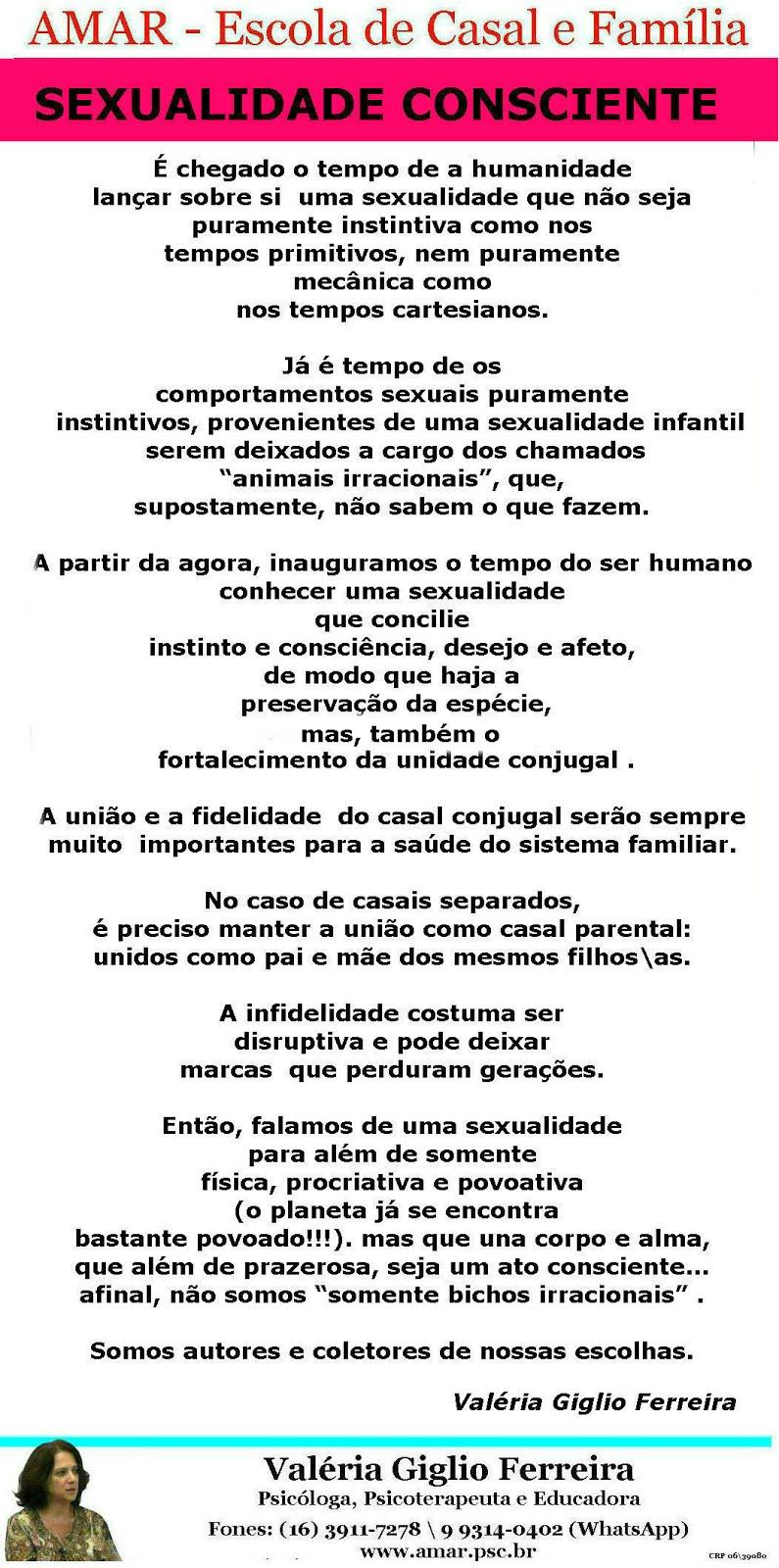 A SEXUALIDADE CONSCIENTE DO TERCEIRO MILÊNIO