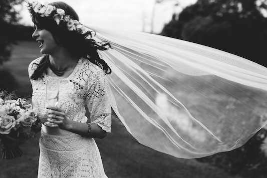 Edwardian lace wedding dress on vintage bride Ruth, medium dress shot