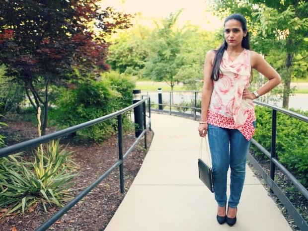 Blouse - DVF , Jeans - Miss Sixty, Pumps - Dolce Vita, Bag - Zara, Tanvii.com