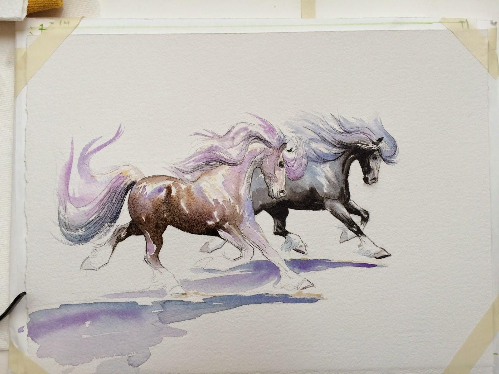 Cool   Wallpaper Horse Watercolor - TwoC%2BWC%2BhorsesProcess07  HD_85837.jpg