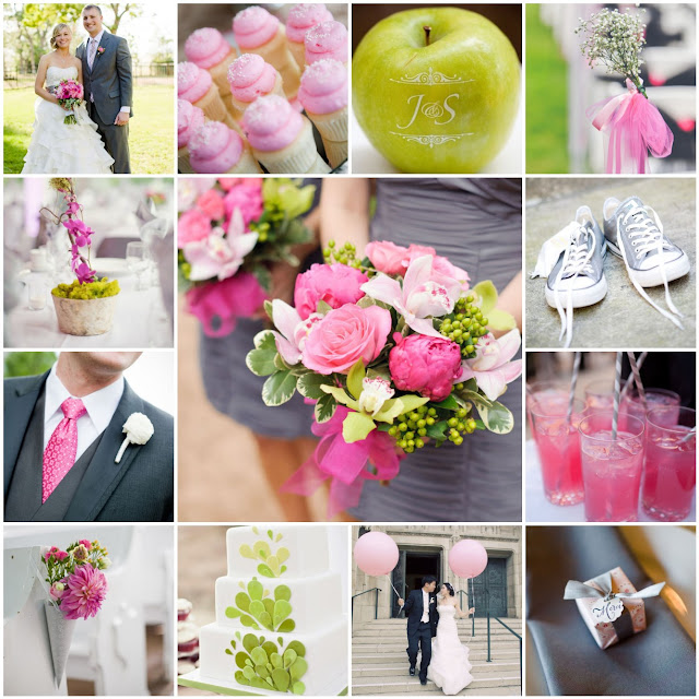 pink green gray wedding palette