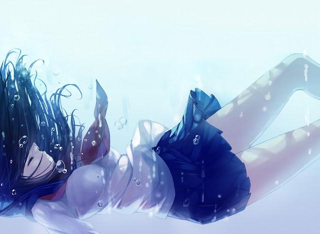 anime girl,school girl,underwater