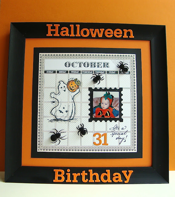 Serendipity Stamps Ghost With Pumpkin Halloween Birthday frame wall art
