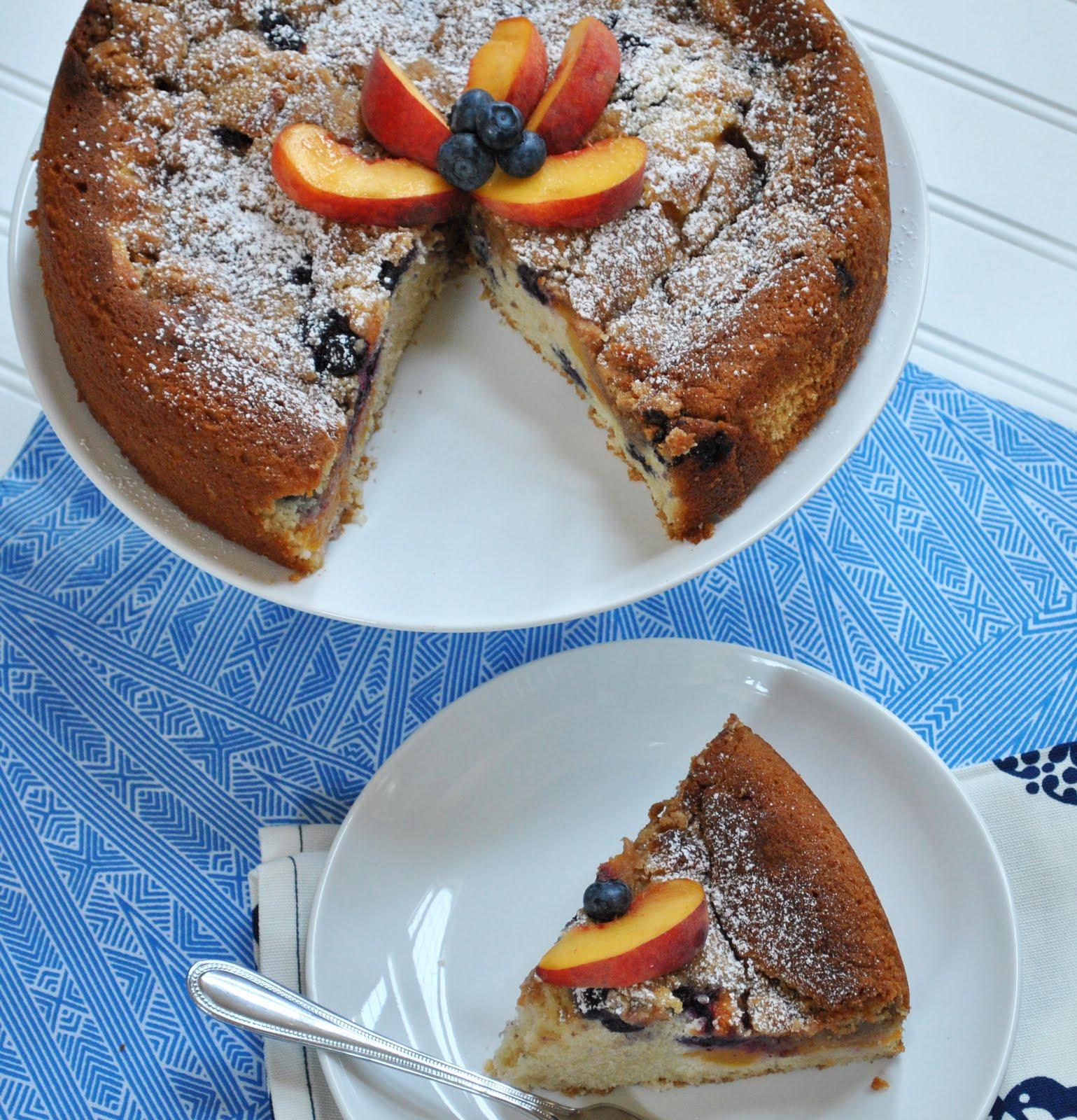Ryan Bakes: Peach Week: Peach Blueberry Coffee Cake
