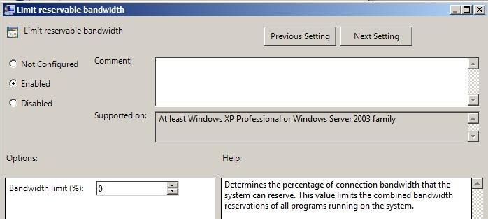 Meningkatkan Bandwith Windows