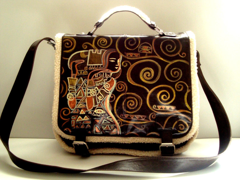 brown vegan leather messenger bag with tree of life by gustav klimt austrian symbolist painter gustav klimt u2013 one of the most known