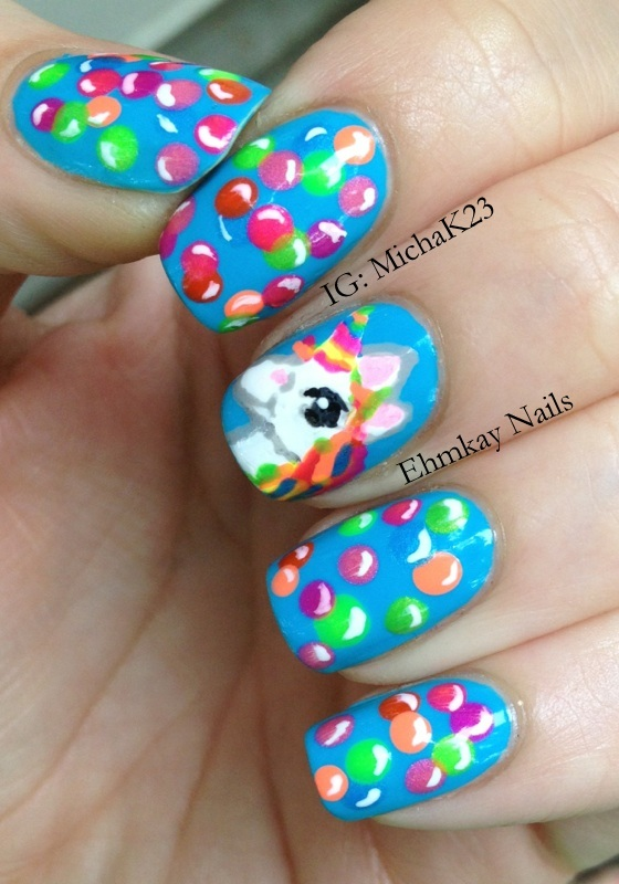 Ehmkay nails lisa frank inspired unicorn rainbow nail art unicorn rainbow nail art prinsesfo Image collections