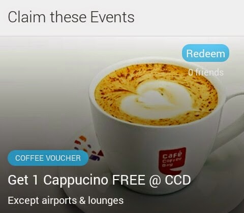 Outsy Offering One Cappucino Free @ CCD