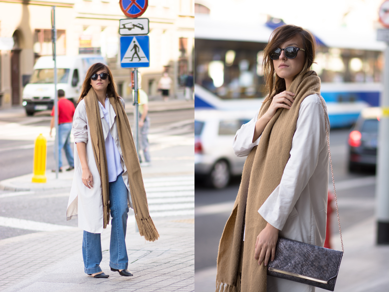 Fashion blogger street style outfit with trench oversize coat, big woolen camel scarf, white shirt and flare denim pants.