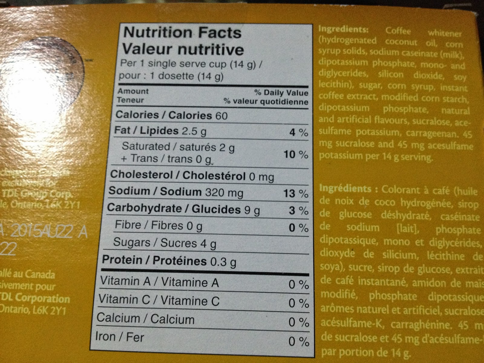 Tim Horton's French Vanilla Nutrition Facts and Ingredients List