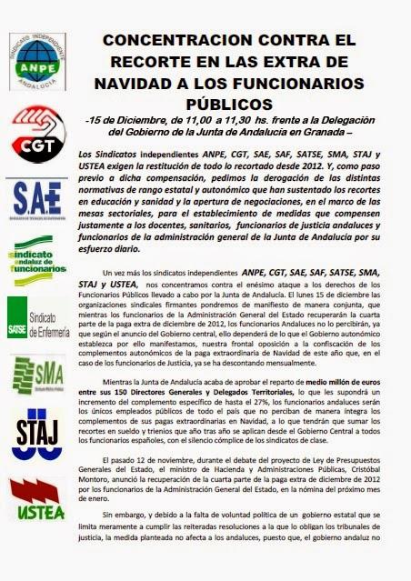 MANIFIESTO CONTRA RECORTES JUNTA DE ANDALUCIA