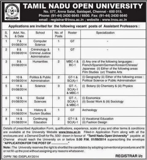 Tamil Nadu Open University Assistant Professor Recruitment Advertisement (www.tngovernmentjobs.in)