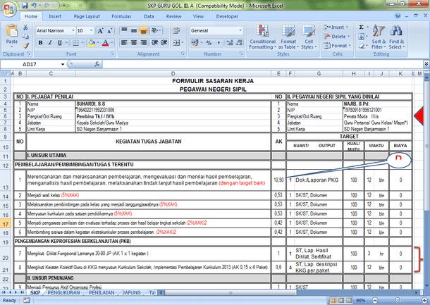 Aplikasi SKP Guru Golongan III dan Tabel Angka Kredit