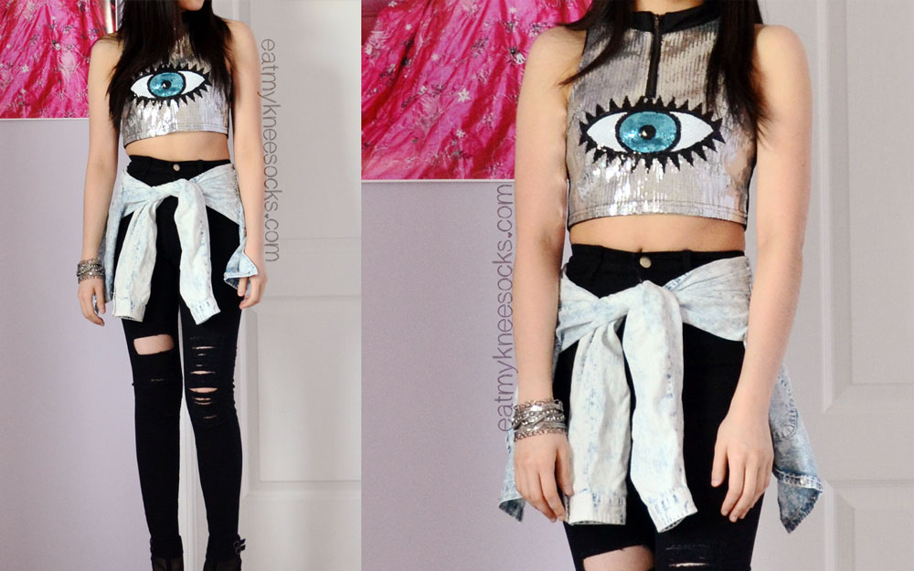 For the perfectly stylish, edgy, and slimming party outfit, try pairing an eye-catching crop top like this Reverse Eye Candy crop dupe from SheInside with ripped skinny jeans and a shirt tied around the waist.