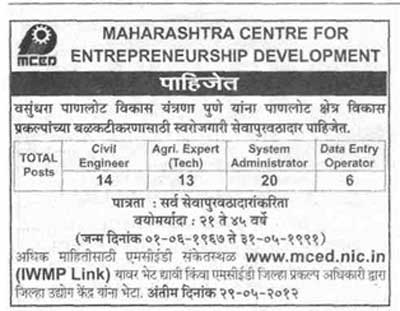 MCED Recruitment 2012 | mced.nic.in Jobs 2012 | Apply Online For MCED