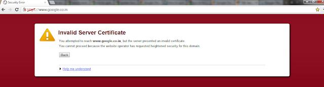Invalid Server Certificate for google