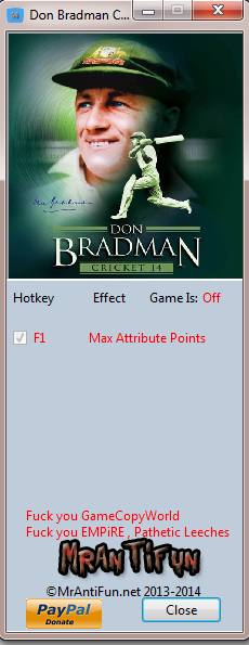 Don Bradman Cricket 14 V1.00 Trainer +1 MrAntiFun