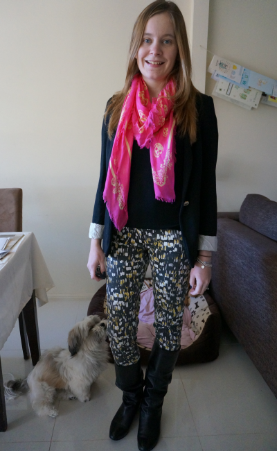pink and yellow skull scarf sass and bide printed denim jeans blazer new parents group