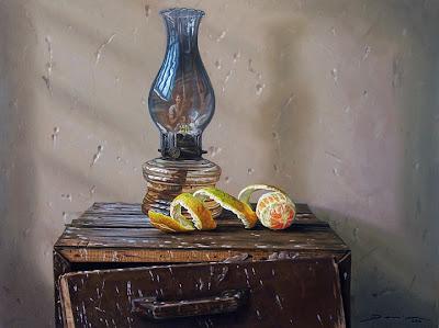 Bodegon con frutas pintado al oleo