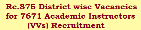 Rc.875 District wise Vacancies for 7671 Academic Instructors (VVs) Recruitment