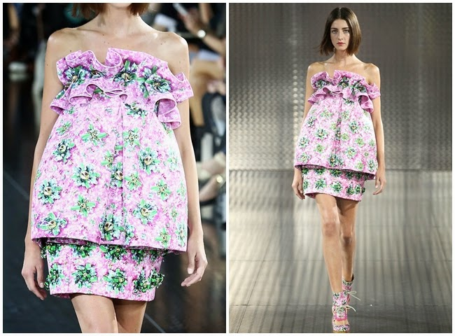 Mary Katrantzou Spring 2014 Pink Floral Top with Big Ruffles and Skirt