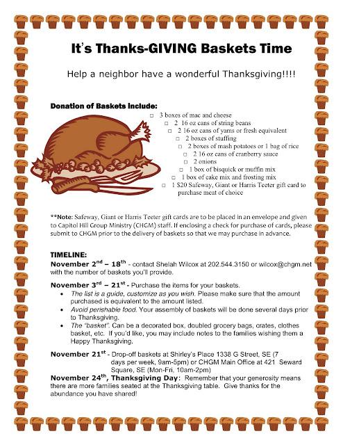 Thanksgiving Food Basket Donation List